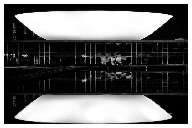 EyeEmNewHere Modernisme Reflection Architecture Congresso Nacional Night No People Oscar Niemeyer