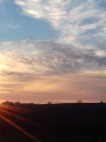 Sunset Dusk Sky Tranquility No People Tranquil Scene Scenics Cloud - Sky Beauty In Nature Agriculture Sunbeam Rural Scene