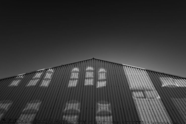 Blackandwhite Photography Hausfassade Industrial Building  No Clouds No People Reflection Réflexion Schattenspiel  Shadows & Lights Sunny Day The City Light Urban Geometry Urbanphotography Wellblech