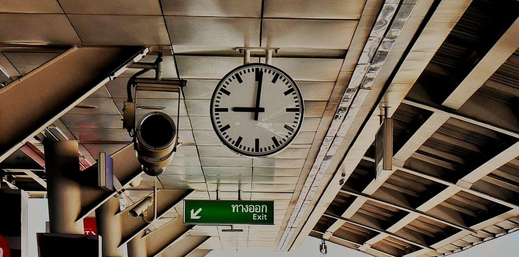Low angle view of clock