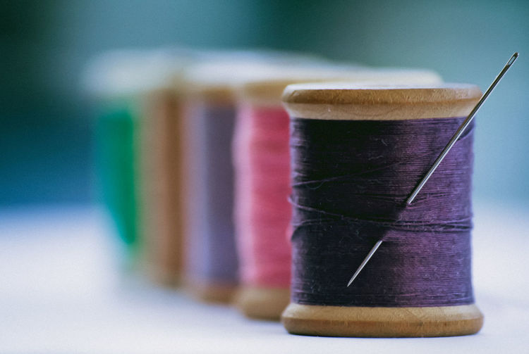 Green In A Row Pink Art And Craft Blue Close-up Day Embroidery Focus On Foreground Indoors  Lined Up Needle No People Pink Color Purple Sewing Sewing Item Spool Textile Industry Wooden Wool The Week On EyeEm