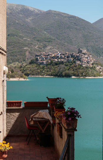 Architecture Building Exterior Built Structure Castel Di Tora Day High Angle View Lago Del Turano Landscape Landscape_Collection Landscape_photography Mountain Nature Nature Nature Photography Nature_collection Nautical Vessel No People Outdoors Scenics Sea Sky Travel Destinations Vacations Water