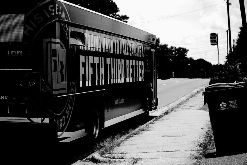 I'm not good at math. Transportation Mode Of Transport Public Transportation Outdoors Day City City Street Bus Sonya6500 Sony Black & White Mono Street Photography Modern Longlens Charlotte North Carolina Fifth Third Bank Black And White Friday