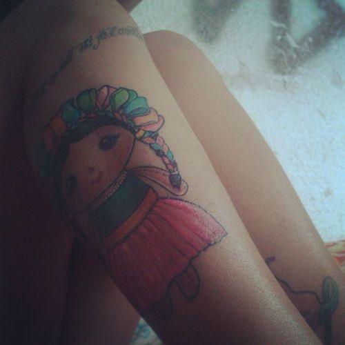Cada vez más tatuadita :) Tattoogirl Tattoo Fullcolor Otomí Muñeca Trapo Ink