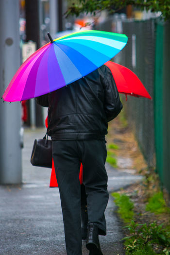 Rear View Of Man In Front Of Woman Walking Under Umbrella In Rainy Season