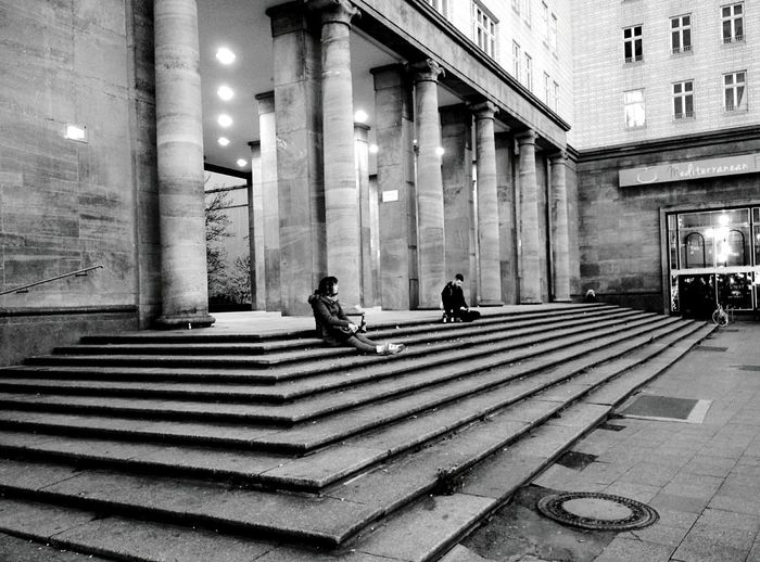 Day 289 - On the stairs Berlin Blackandwhite Frankfurtertor Stairs Streetphotography Streetphoto_bw 365project 365florianmski Day289