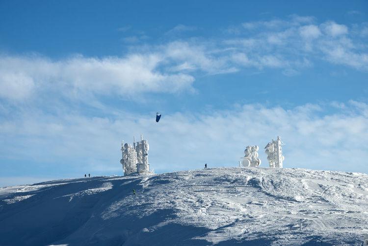 Seagull flying over snow covered shore against sky