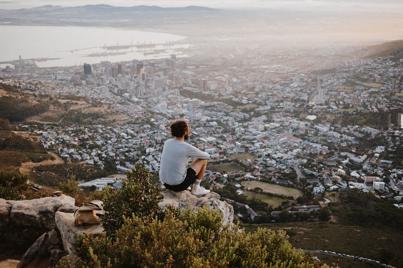 Early morning view above Cape Town One Person Nature Cityscape Mountain Young Adult Casual Clothing Lifestyles Looking At View Outdoors Capetown Sunrise Explorer Hiking