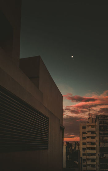 Architecture Sky Built Structure Building Exterior Building Sunset City Moon No People Nature Cloud - Sky Low Angle View Outdoors Modern Office Building Exterior Night Office Dusk Beauty In Nature Orange Color Skyscraper The Art Of Street Photography