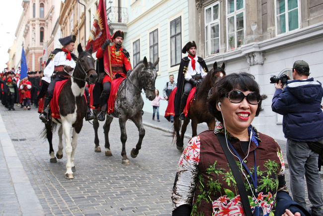 Korean tourists enyoing Kravata's day parade,Zagreb,Croatia,Europe,5 Autumn Casual Clothing City Croatia Day Horse Korean Tourists Kravata Kravata's Day Outdoors Parade Photo Selphie South Korea Street Streets Tourism Tourists Zagreb