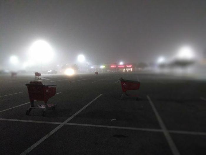 Spooky Target Fog Mist Illuminated Full Length Outdoors Sky