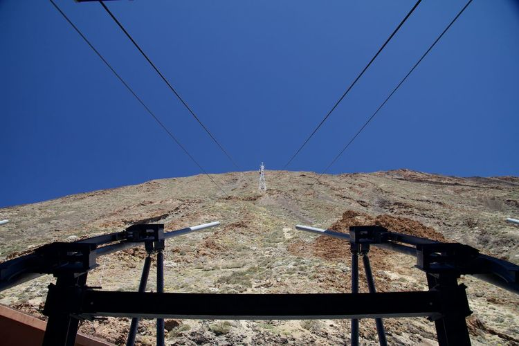 Low angle view of electricity pylon on field against clear blue sky