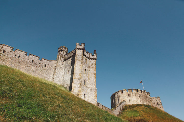 Low Angle View Of Arundel Castle Against Clear Blue Sky