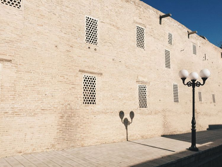 Brick Wall Shadow Streetlight Lantern Architecture Sunlight Outdoors City Day No People EyeEmNewHere
