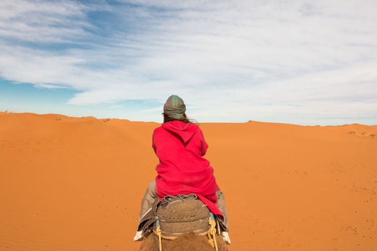 Rear view of man on desert against sky