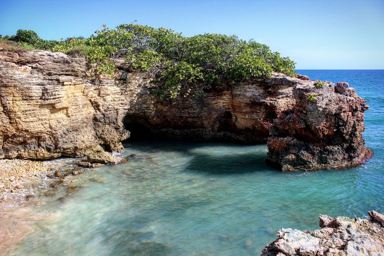 Cabo Rojo PR Sea Beach Rock - Object Water Blue Horizon Over Water Nature Scenics Beauty In Nature Outdoors Clear Sky Landscape Sunlight Sand Summer Sky Day No People Puerto Rico