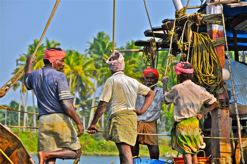 Backwaters Fishermen India Indian Men Kerala Traditional Turban