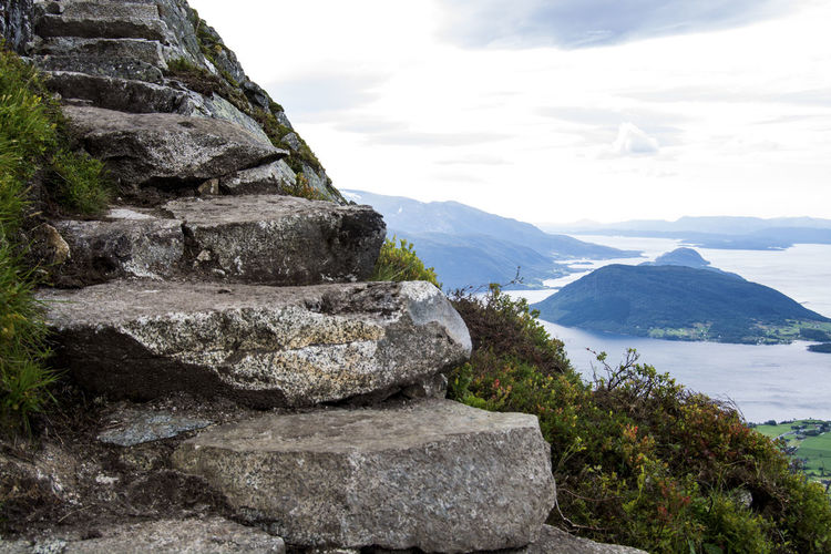 Norway Stairs Adventure Beauty In Nature Day Landscape Mountain Nature No People Outdoors Rosendal Scenics Sky Water