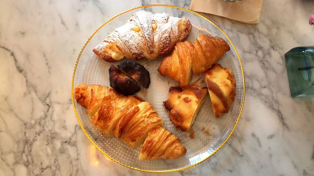 EyeEm Selects Food And Drink Croissant High Angle View Food Still Life Freshness Indoors  Table Plate French Food Sweet Food No People Ready-to-eat Breakfast Healthy Eating Fruit Close-up Day