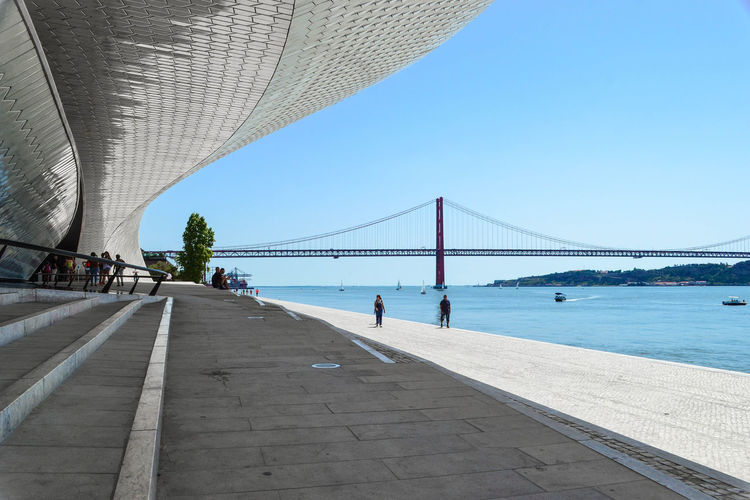 Shapes Lisbon Lisbona Portugal Portogallo Bridge Maat Water Walking Outdoors Day Architecture Travel Destinations Built Structure Architecture Your Ticket To Europe Colour Your Horizn Adventures In The City The Architect - 2018 EyeEm Awards