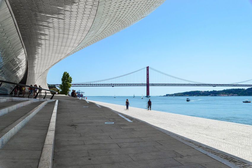 Shapes Lisbon Lisbona Portugal Portogallo Bridge Maat Water Walking Outdoors Day Architecture Travel Destinations Built Structure Architecture Your Ticket To Europe Colour Your Horizn