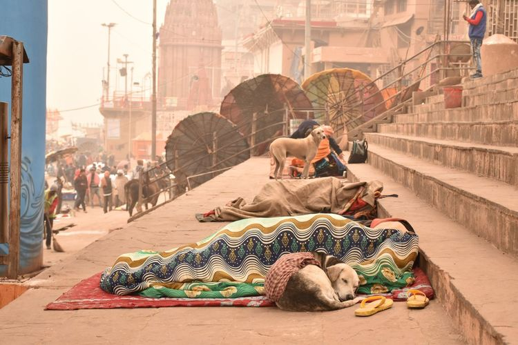 People relaxing on street in city