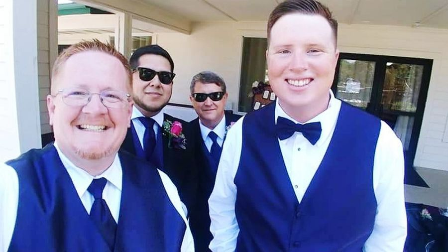 Groomsmen Groomsmen Wedding Party Sharp Dressed Men Groom Best Man Sunglasses Wedding Portrait Men Looking At Camera Well-dressed Smiling Standing Tuxedo Bow Tie Evening Wear