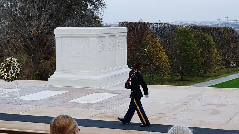Guard at the Tomb Of The Unknown Soldier Arlington National Cemetary Fall Colors