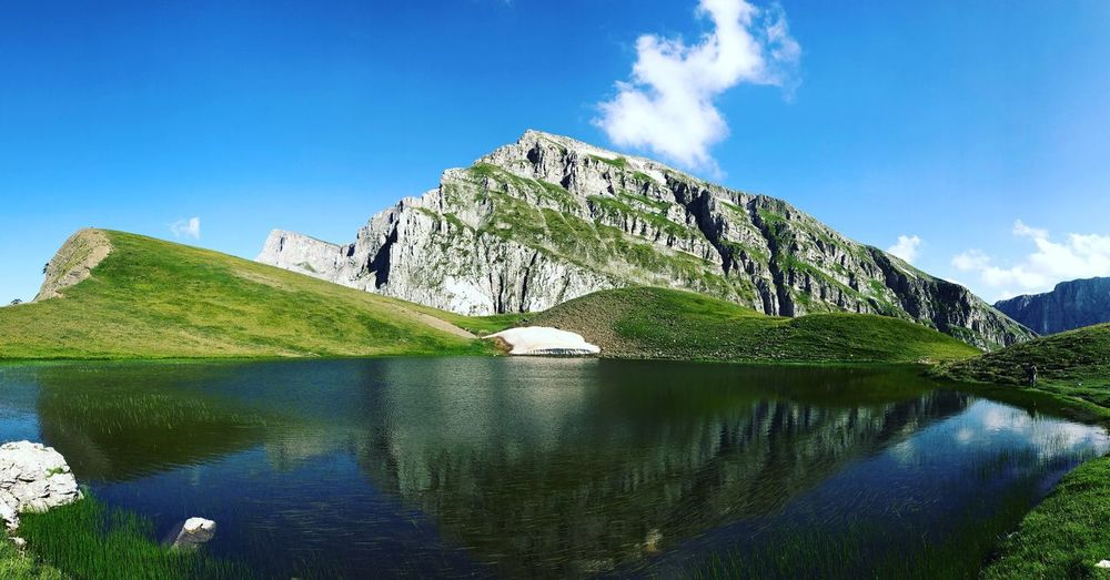 Dragon lake of Timfi Dragonlake Timfi Shaolin Trekking Greece Zagoroxoria,greece Sky Water Plant Nature Tranquility Reflection Beauty In Nature No People Lake Blue Scenics - Nature Cloud - Sky Tranquil Scene Mountain Green Color Tree Outdoors The Great Outdoors - 2018 EyeEm Awards