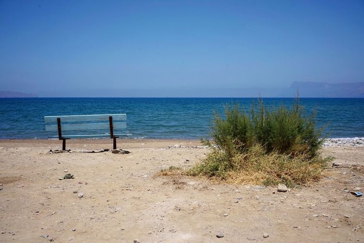 Kastelli Greece Crete Sea Beach Water Land Horizon Over Water Sky Tranquility Horizon Beauty In Nature Sand Tranquil Scene Scenics - Nature Nature Copy Space Clear Sky Day Sunlight No People Blue Outdoors