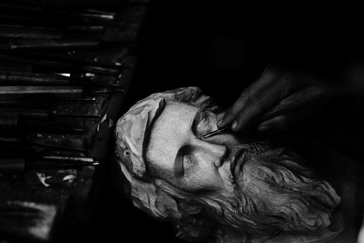 Working Hands Curving HEAD Wood Carving Carving - Craft Product Chiseled Paete Eyeem Philippines The Week Of Eyeem The Week On EyeEm Showcase March Telling Stories Differently Monochrome Photography