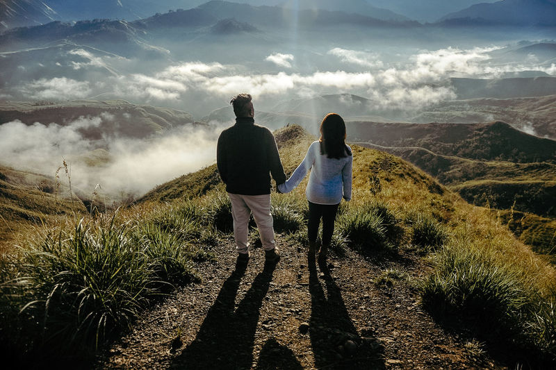 Into the Mountain Landscape Sea Of clouds Couple Goals Love Togetherness Full Length Shadow Friendship Rear View Women Men Walking Bonding Sky Cultivated Land