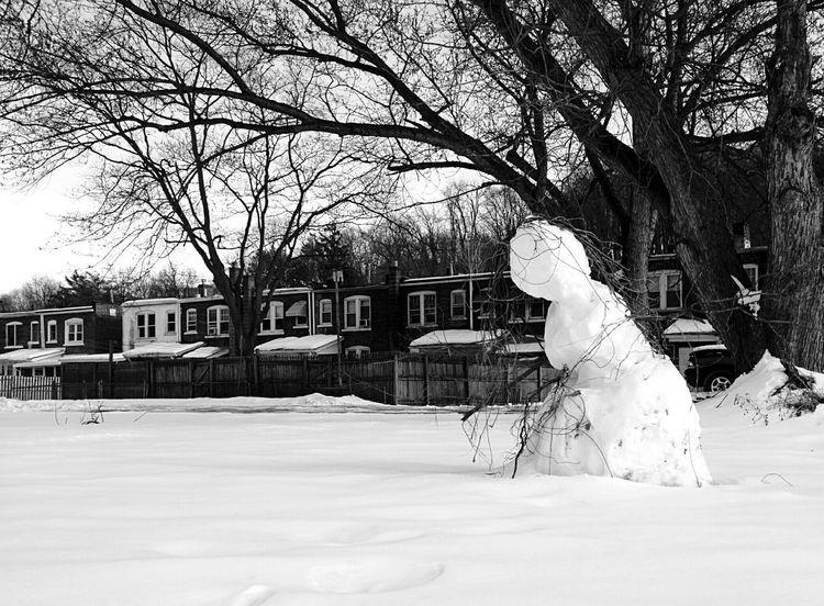 Snowman Melting Snowman  Walking A Snowy Field
