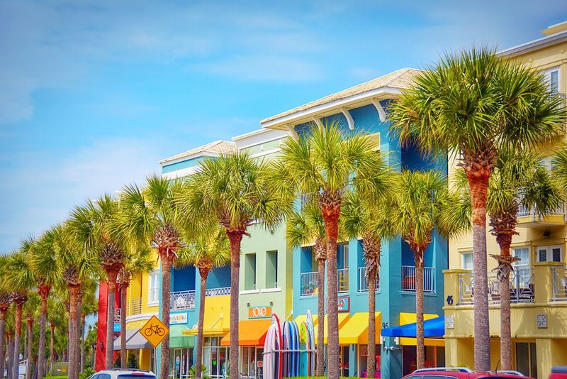 Colorful beach city Architecture Beach Life Building Building Exterior Built Structure City City Life Clear Sky Colorful Houses Day Holiday House In A Row No People Outdoors Palm Palm Tree Resort Southern Southern Life Tree Tropical Climate Urban