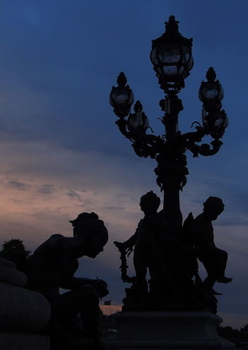 Art And Craft Cloud - Sky Low Angle View No People Paris Sky Sculpture Silhouette Photography Statue Twilightscapes