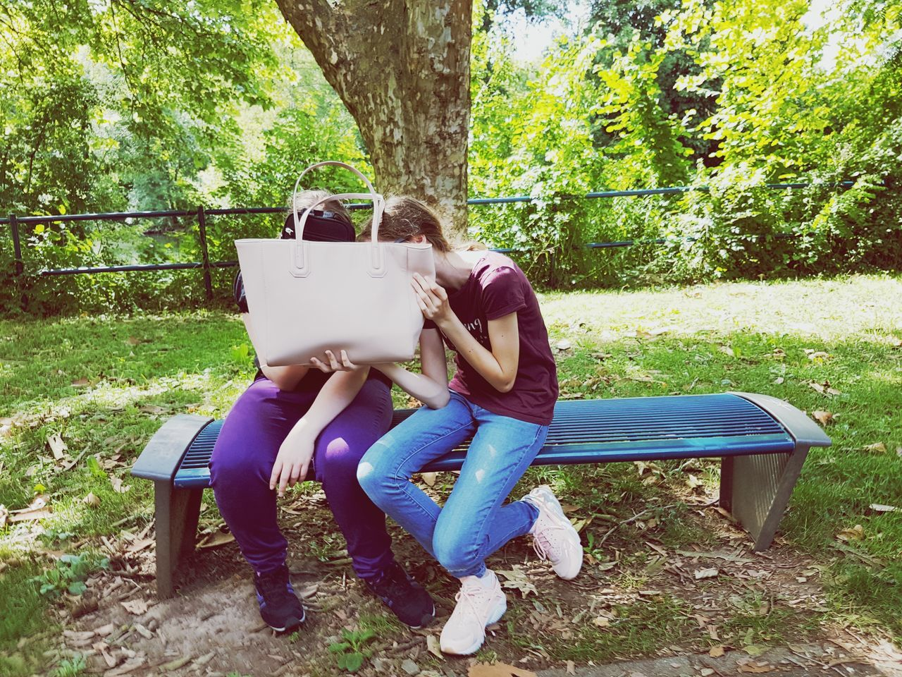 casual clothing, sitting, full length, tree, day, two people, togetherness, holding, real people, leisure activity, grass, outdoors, tree trunk, young women, cardboard box, nature, young adult, people