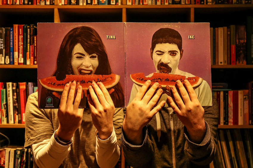 Two People Vinyl Music Vinyl Records Arts Culture And Entertainment Dj Style And Fashion Imitation Similarity Watermelon Eat Eating Art Is Everywhere Eye4photography  The Week On EyeEm The Week On EyeEm Editor's Picks