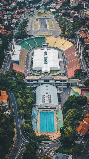 Aerial view of stadium in city