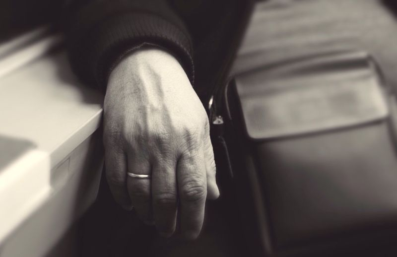Relaxing Tiredness Tired Starting A Trip Trip Hand Wedding Ring Train On The Train Monochrome