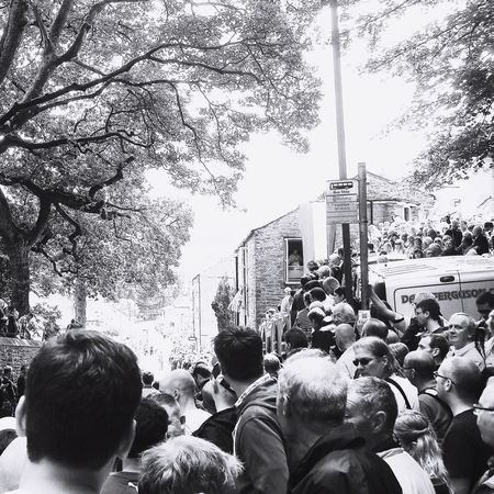 Large Group Of People Crowd Leisure Activity Spectator Tour De France Yorkshire Skipton
