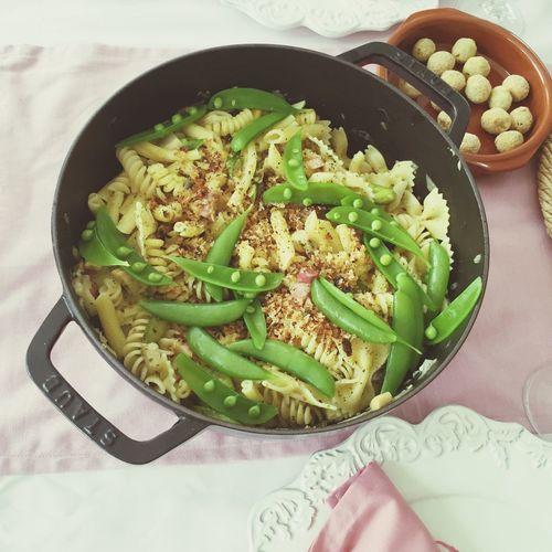 春野菜のパスタ。オリーブのフリット。 Atsucocokitchen