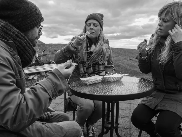When she looks at you like she looks at cake <3 Friendship Food And Drink Togetherness Outdoors Food Portrait EyeEmNewHere Blackandwhite Cakes Breaktime