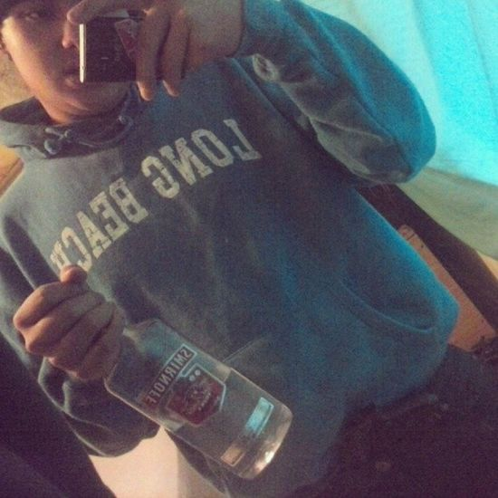 Bottle and a piece . Function Bored Vodka Yupp .