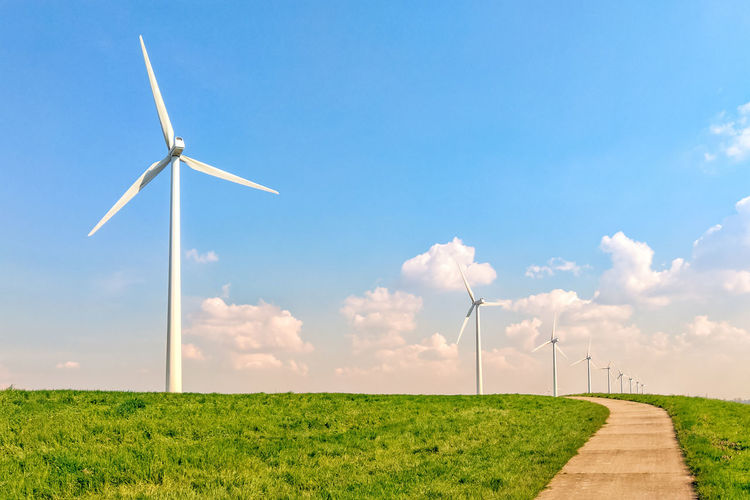 Environmental Conservation Wind Turbine Renewable Energy Alternative Energy Fuel And Power Generation Turbine Environment Wind Power Sky Field Landscape Grass Nature Land Rural Scene Plant Beauty In Nature Technology Cloud - Sky Day No People Outdoors Wind Power In Nature Sustainable Resources