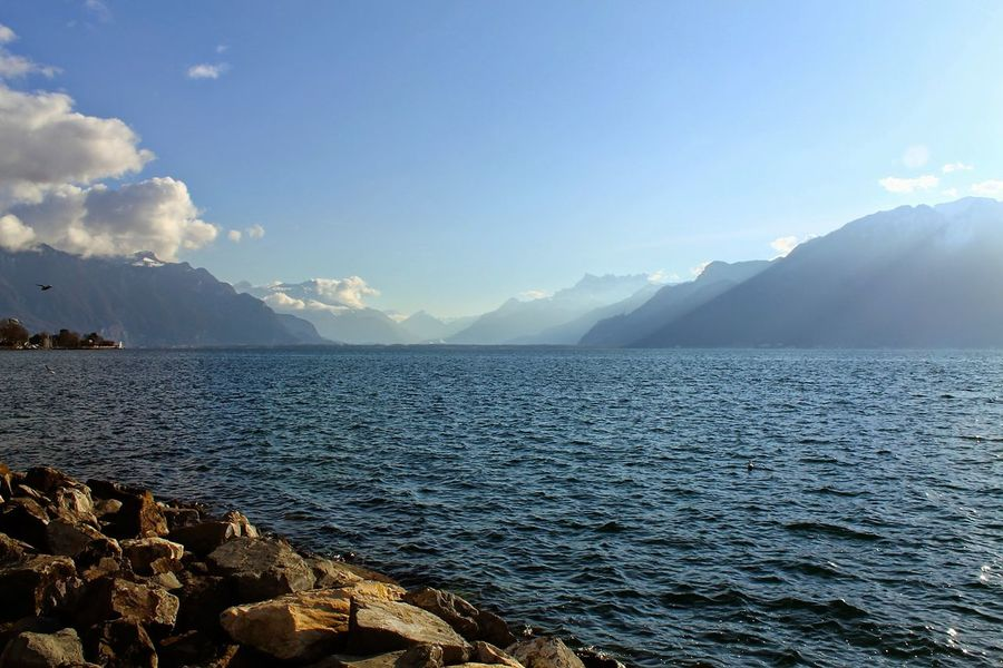 Blue Lake Landscapes With WhiteWall Lausanne Mountain No People Scenics Tranquil Scene Tranquility Water Color Palette