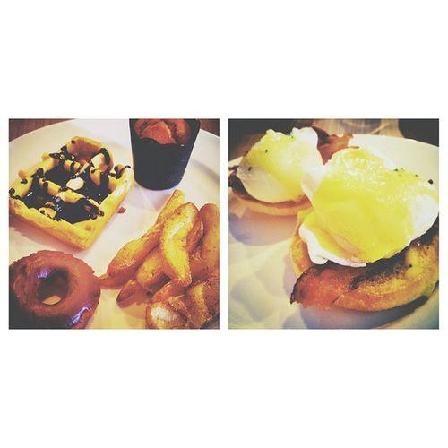 EGGBENEDICT , Belgian  Waffle ,& Potato wedges