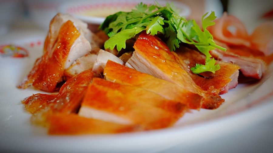 Close-up of roasted duck meat served in plate