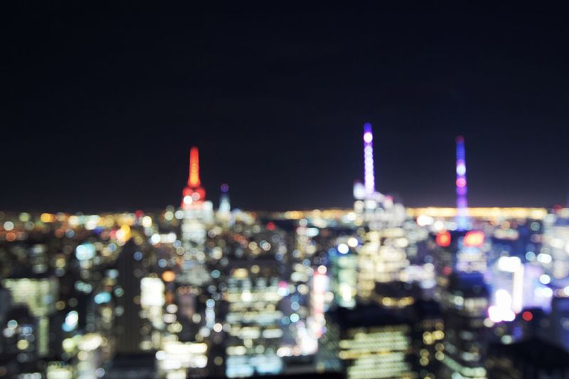 Blurry vision. New York City skyline from top of the Rock Night Skyscraper No People City Illuminated NYC Photography Cityscape New York City Blurry Vision Rockefeller Center First Eyeem Photo