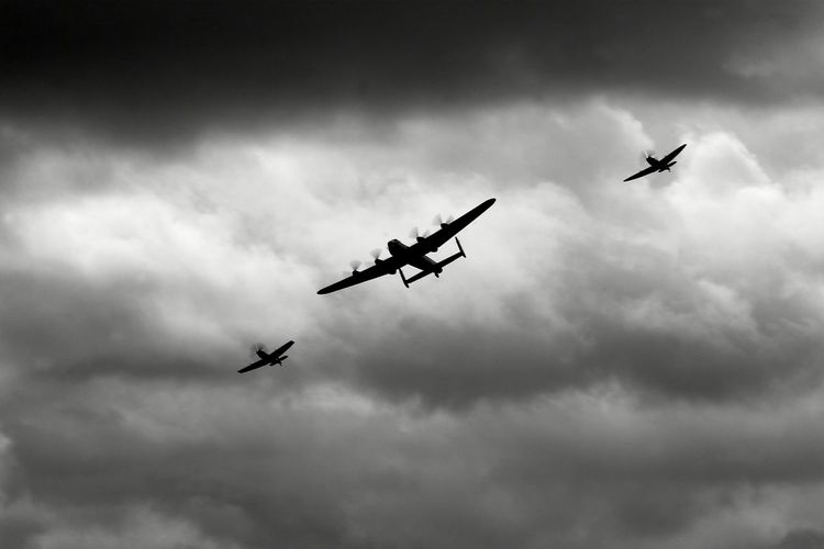 Low Angle View Of Battle Of Britain Memorial Flight Over Bournemouth