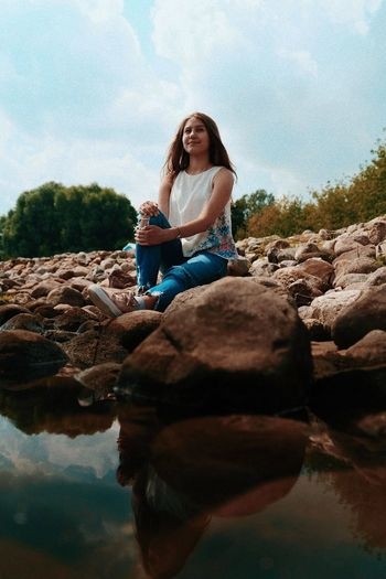 Summer Time Stown Nature Beautiful People Sony Beautiful Woman Young Women Water Sitting Full Length Rock - Object Sand Reflection Sky Lake